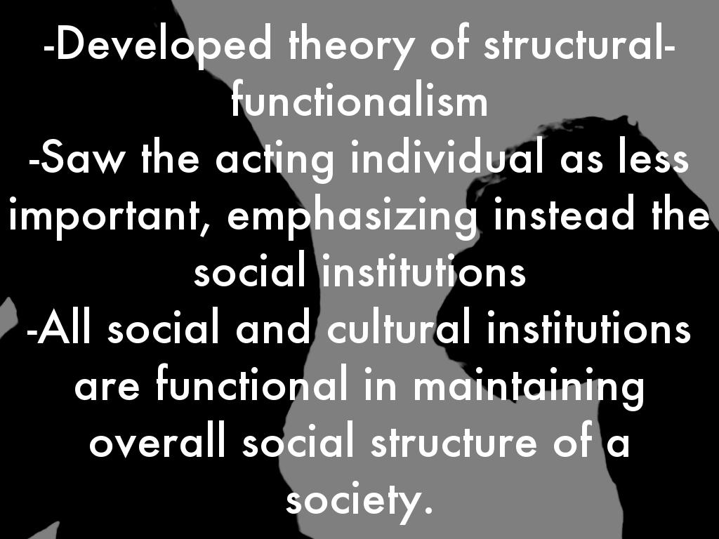 understanding the social theory of functionalism In order to understand the social world around us emile durkheim 's work is considered the foundation of functionalist theory in sociology.