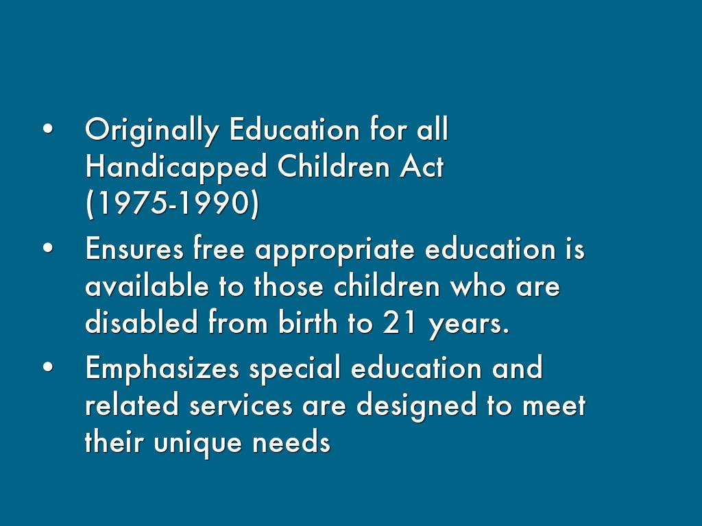 legal ramifications of the education for all handicapped children act of 1975 History of special education law and the legal ramifications of the education for all for all handicapped children act of 1975 and.