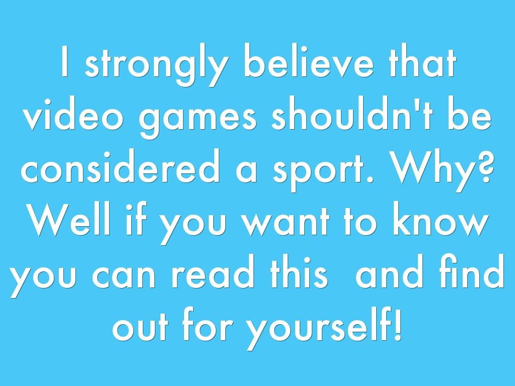 should e sports be considered a sport essay