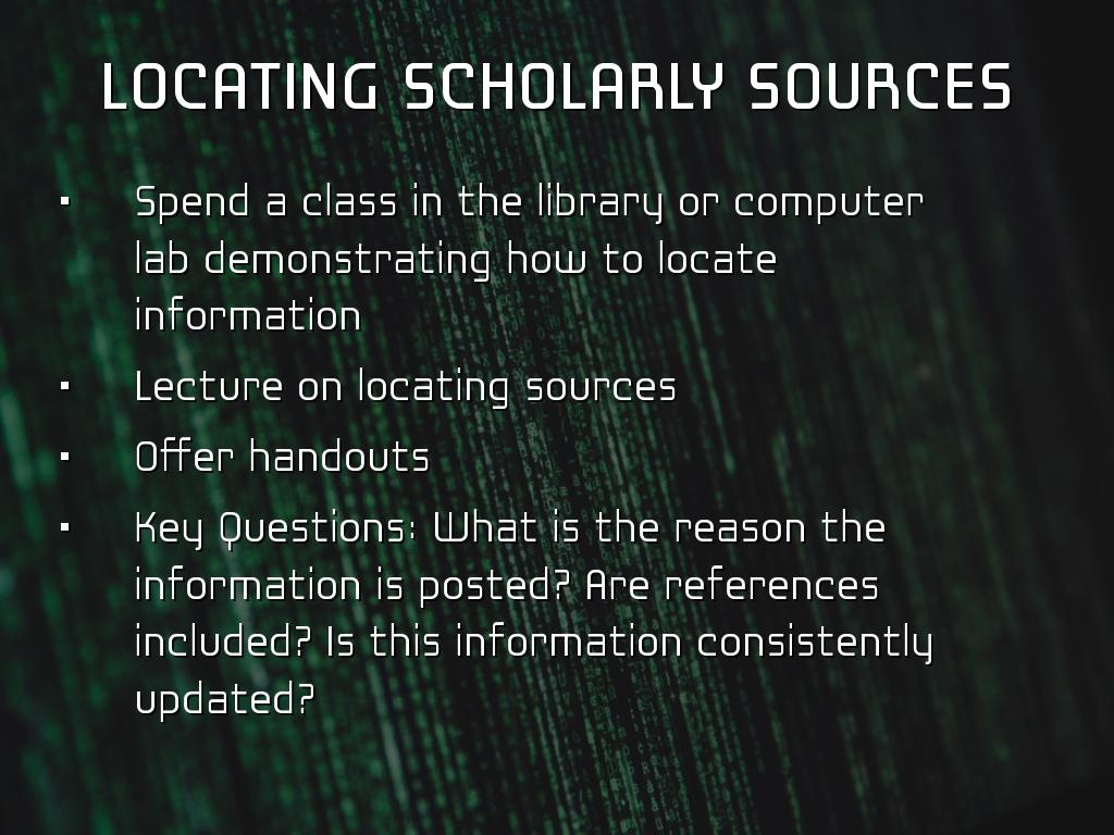 locating scholarly sources